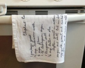 handwritten recipes on tea towels | www.7g5u9.cn